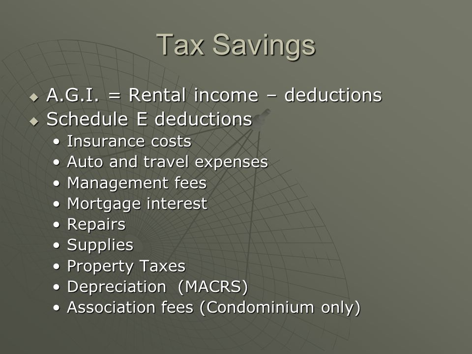 Tax Savings A.G.I. = Rental income – deductions A.G.I.