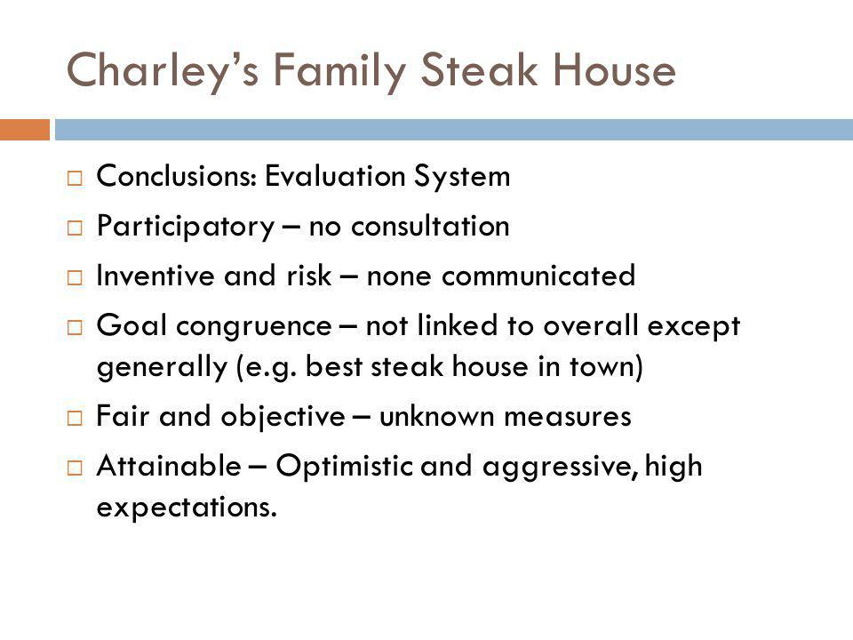 Charleys Family Steak House Conclusions: Evaluation System Participatory – no consultation Inventive and risk – none communicated Goal congruence – no