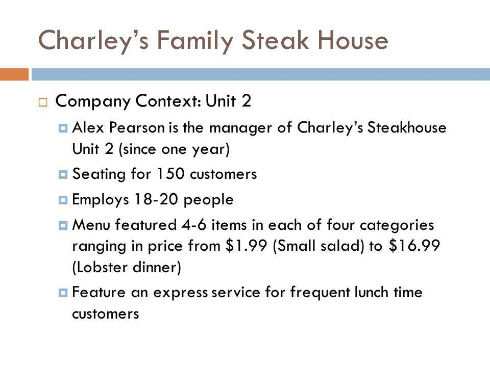 Charleys Family Steak House Company Context: Customer Segments Community Located next to a shopping mall Business community Offices are nearby No eating establishment within one mile radius Hotel 100 room budget motel with no restaurant within walking distance