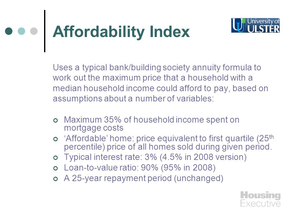 Affordability Index Uses a typical bank/building society annuity formula to work out the maximum price that a household with a median household income could afford to pay, based on assumptions about a number of variables: Maximum 35% of household income spent on mortgage costs Affordable home: price equivalent to first quartile (25 th percentile) price of all homes sold during given period.