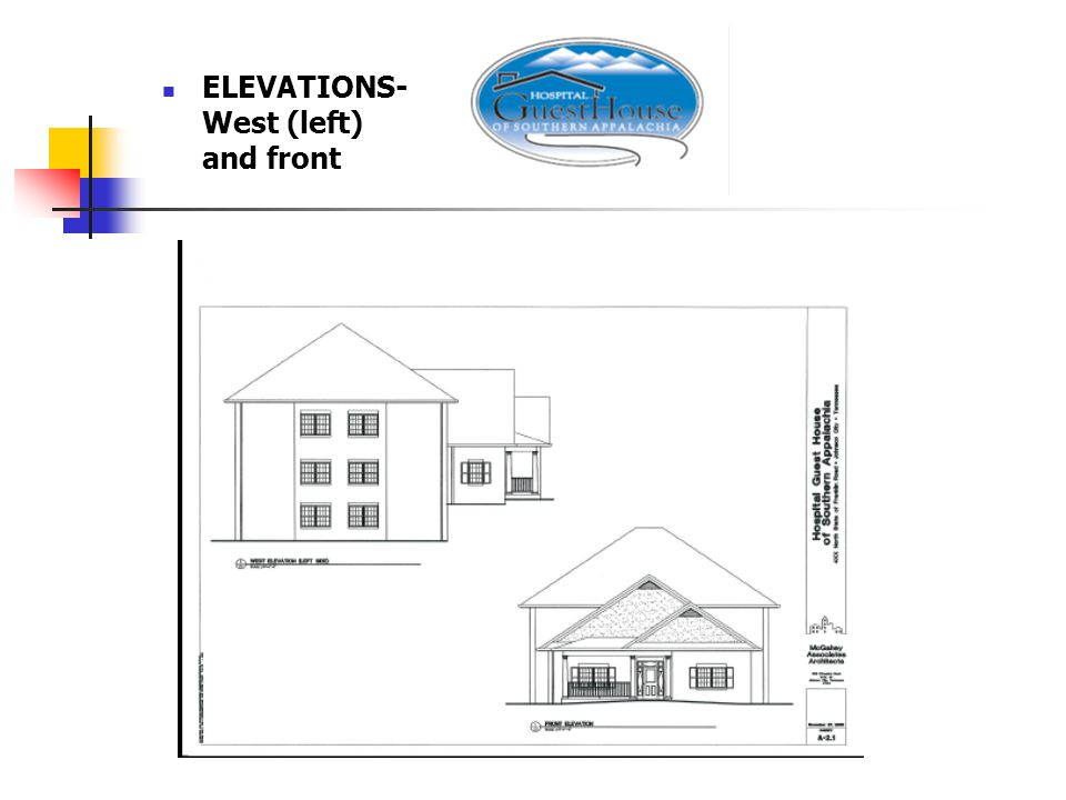 ELEVATIONS- West (left) and front