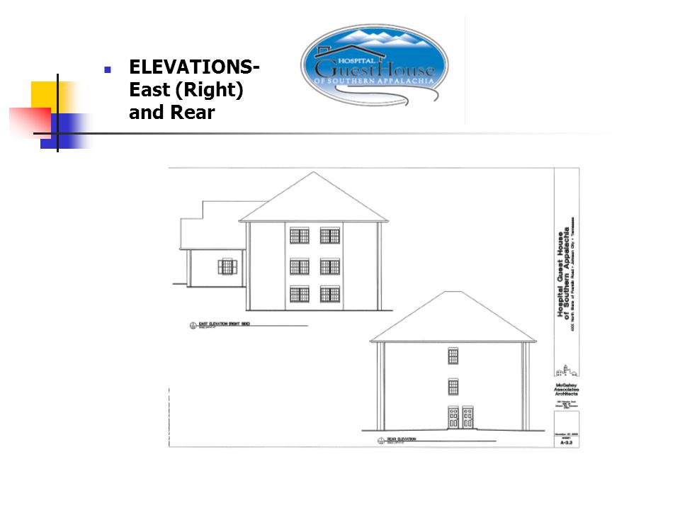 ELEVATIONS- East (Right) and Rear
