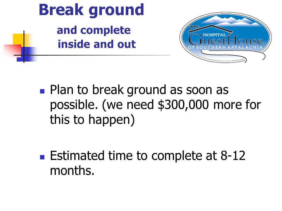 Break ground and complete inside and out Plan to break ground as soon as possible.