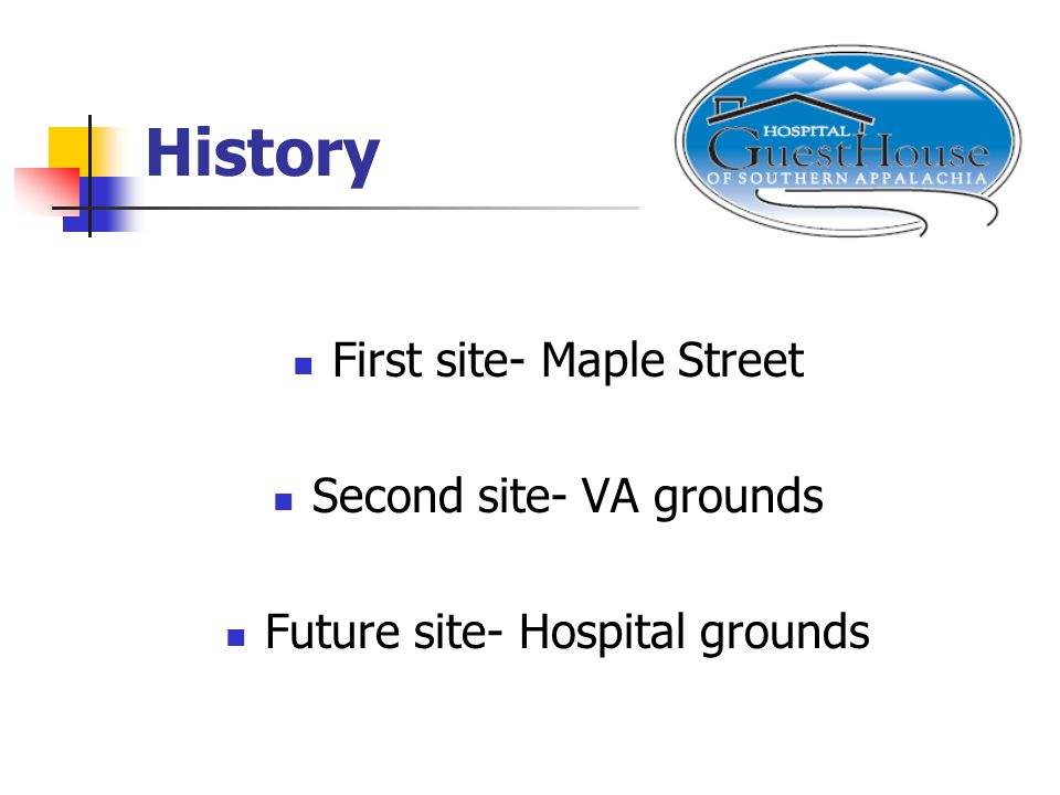 History First site- Maple Street Second site- VA grounds Future site- Hospital grounds