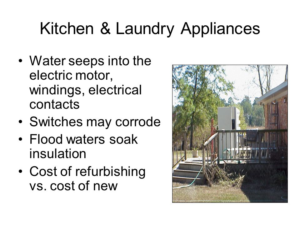 Kitchen & Laundry Appliances Water seeps into the electric motor, windings, electrical contacts Switches may corrode Flood waters soak insulation Cost of refurbishing vs.
