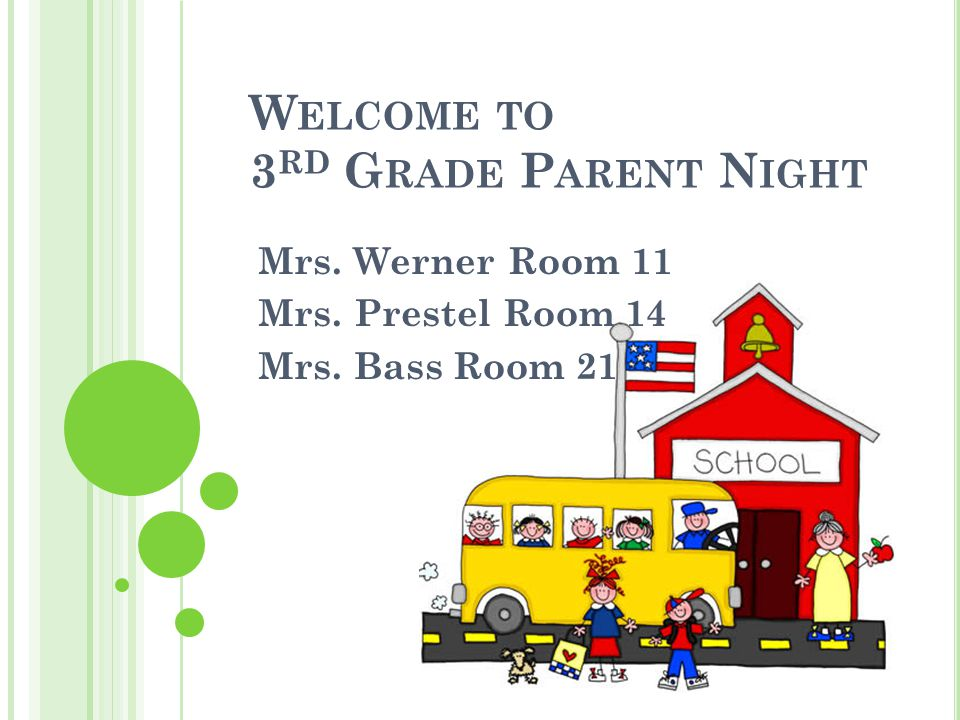 W ELCOME TO 3 RD G RADE P ARENT N IGHT Mrs. Werner Room 11 Mrs. Prestel Room 14 Mrs. Bass Room 21