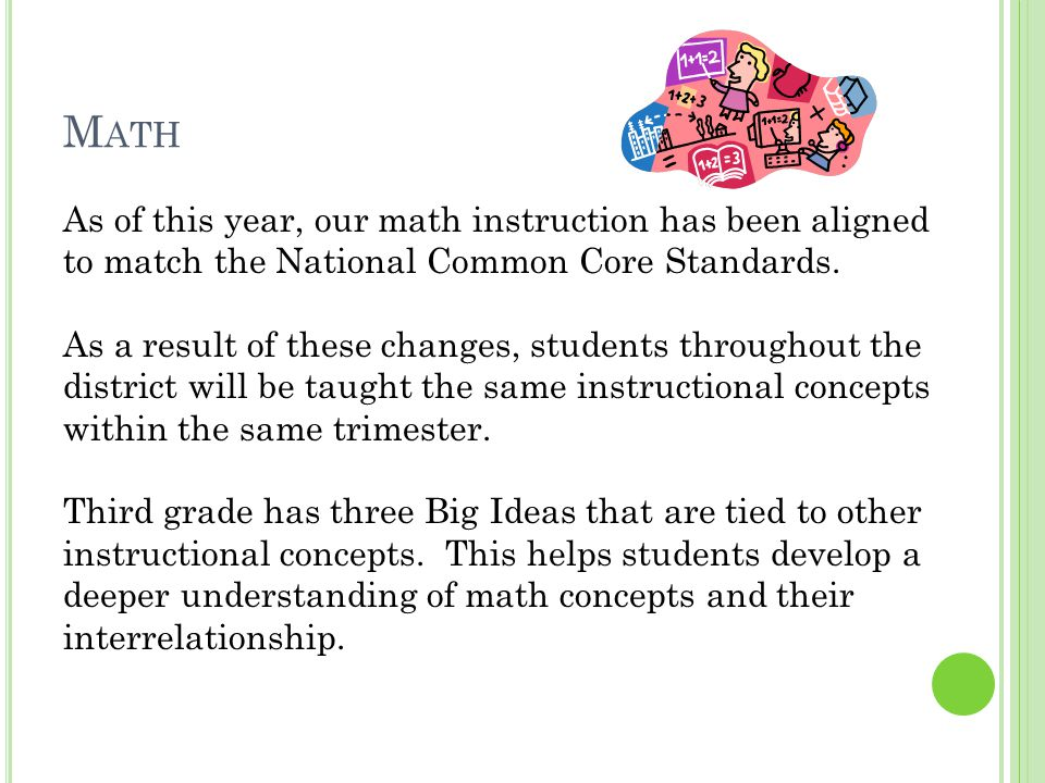 M ATH As of this year, our math instruction has been aligned to match the National Common Core Standards.
