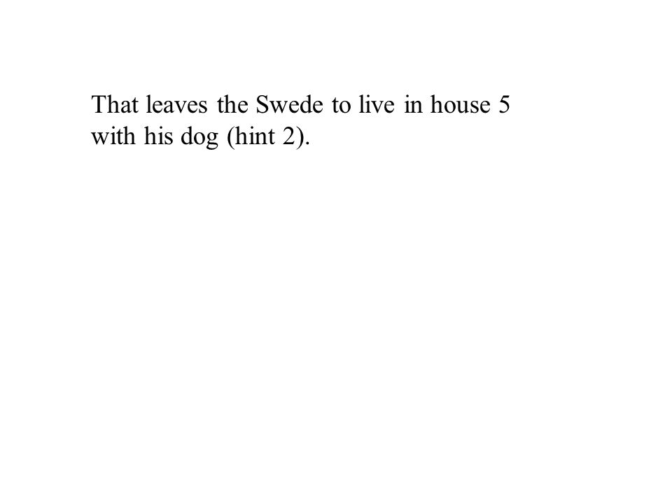 That leaves the Swede to live in house 5 with his dog (hint 2).