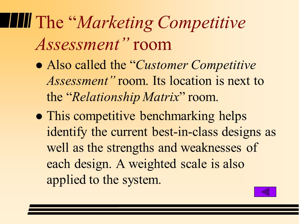 The Marketing Competitive Assessment room l Also called the Customer Competitive Assessment room.