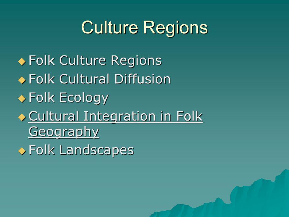 Culture Regions Folk Culture Regions Folk Culture Regions Folk Cultural Diffusion Folk Cultural Diffusion Folk Ecology Folk Ecology Cultural Integration in Folk Geography Cultural Integration in Folk Geography Folk Landscapes Folk Landscapes