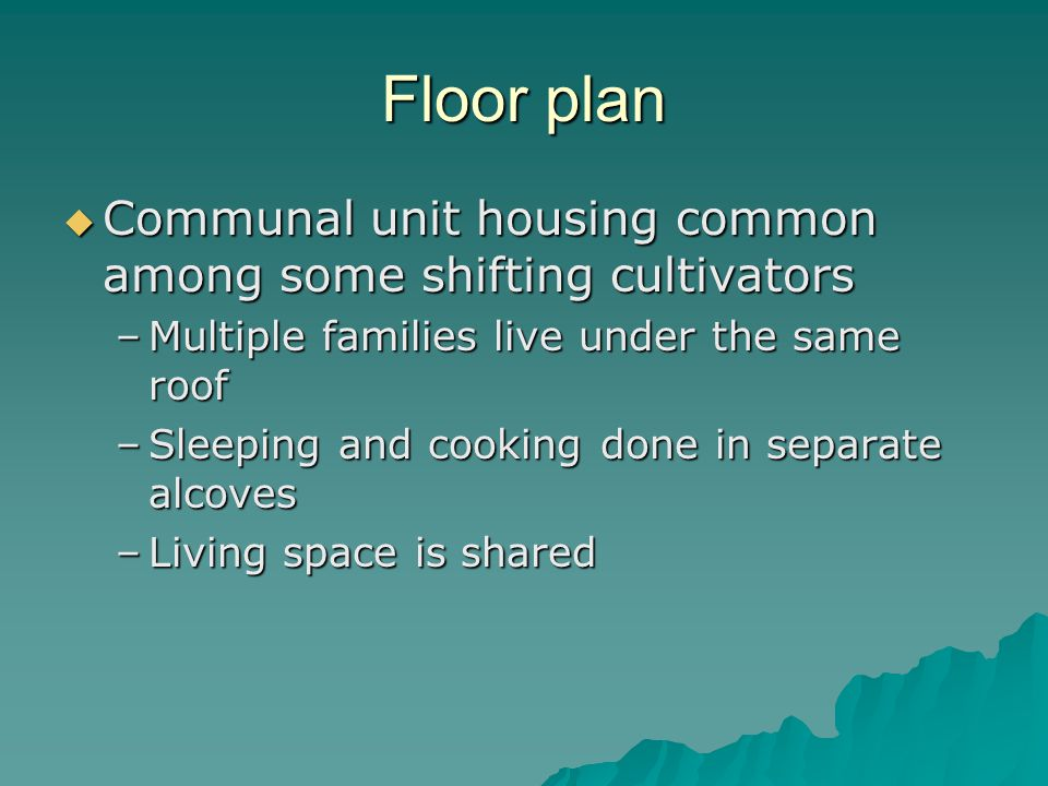 Floor plan Communal unit housing common among some shifting cultivators Communal unit housing common among some shifting cultivators –Multiple families live under the same roof –Sleeping and cooking done in separate alcoves –Living space is shared