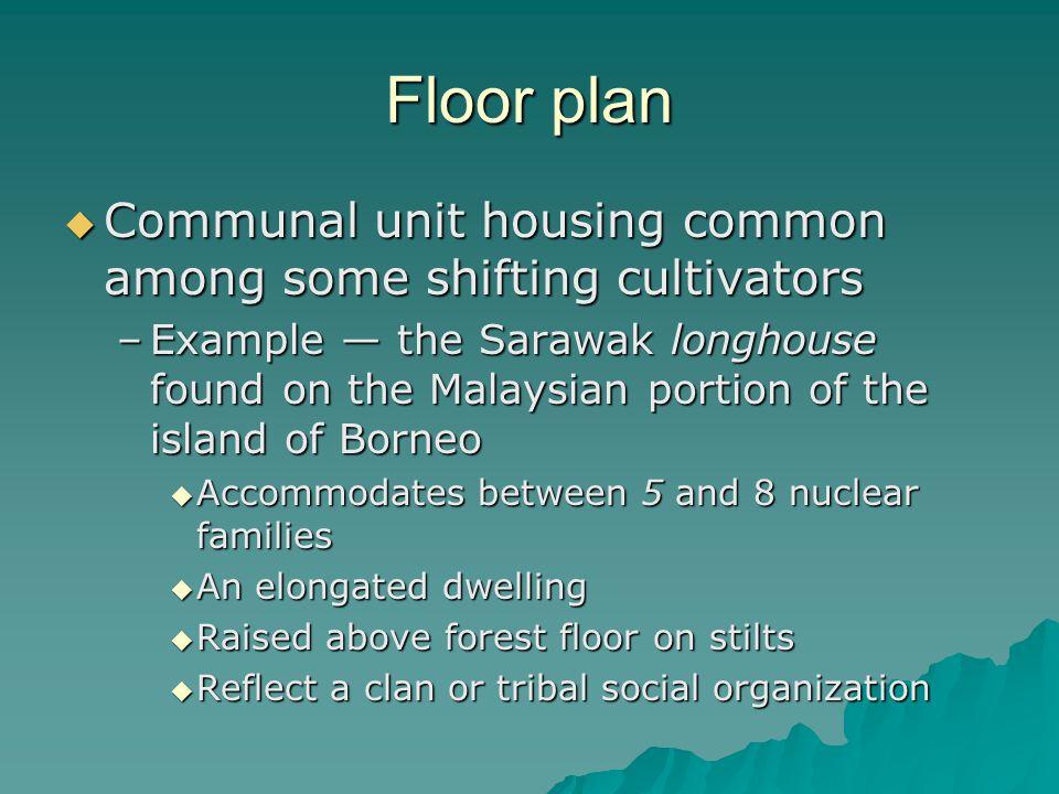 Floor plan Communal unit housing common among some shifting cultivators Communal unit housing common among some shifting cultivators –Example the Sara