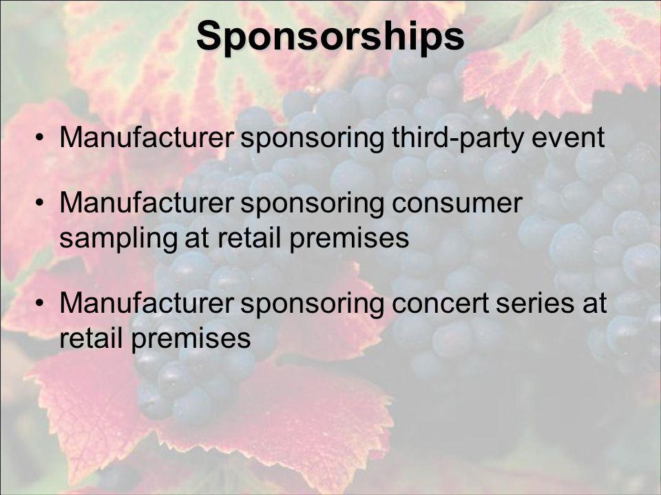 Sponsorships Manufacturer sponsoring third-party event Manufacturer sponsoring consumer sampling at retail premises Manufacturer sponsoring concert se