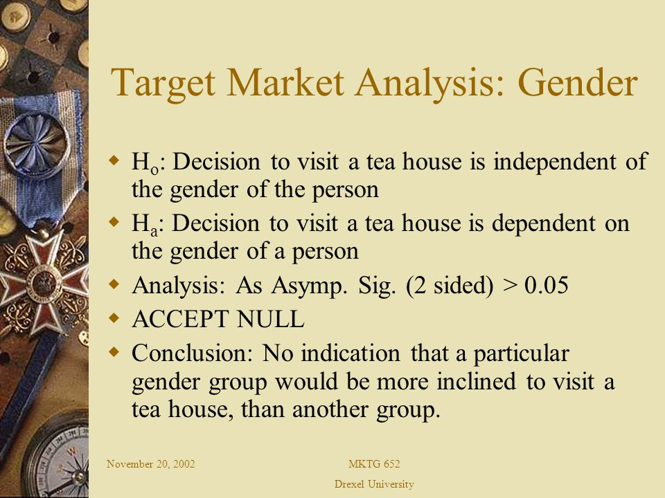 November 20, 2002MKTG 652 Drexel University Target Market Analysis: Gender H o : Decision to visit a tea house is independent of the gender of the person H a : Decision to visit a tea house is dependent on the gender of a person Analysis: As Asymp.