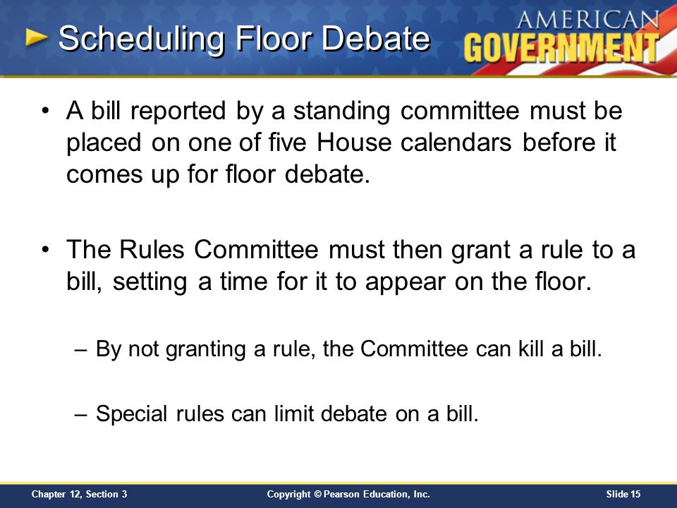 Copyright © Pearson Education, Inc.Slide 15 Chapter 12, Section 3 Scheduling Floor Debate A bill reported by a standing committee must be placed on on