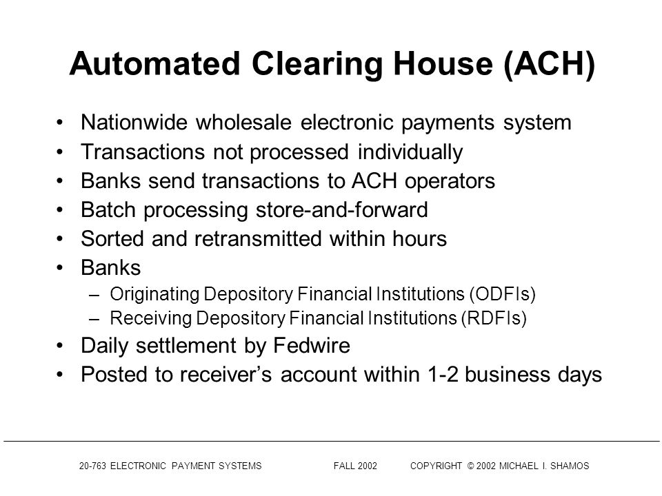 20-763 ELECTRONIC PAYMENT SYSTEMS FALL 2002COPYRIGHT © 2002 MICHAEL I. SHAMOS Federal Reserve Check Processing 46 regional check processing centers In