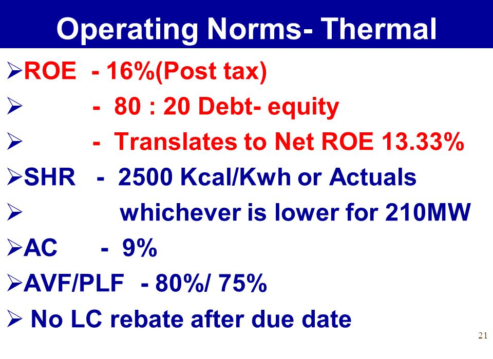 21 ROE - 16%(Post tax) - 80 : 20 Debt- equity - Translates to Net ROE 13.33% SHR - 2500 Kcal/Kwh or Actuals whichever is lower for 210MW AC - 9% AVF/PLF - 80%/ 75% No LC rebate after due date Operating Norms- Thermal