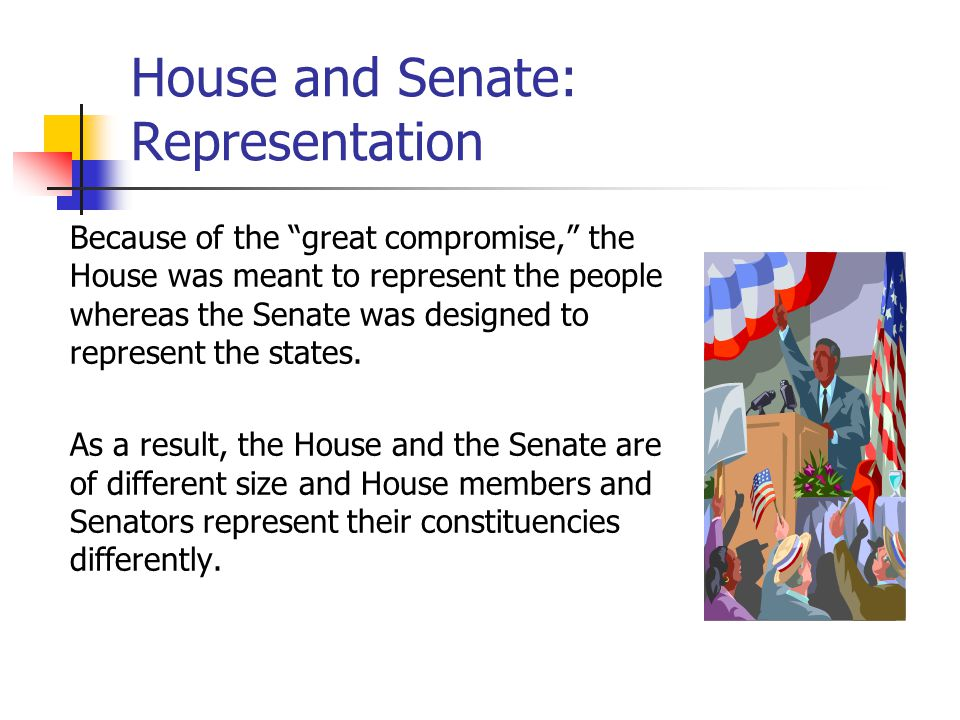 House and Senate: Representation Because of the great compromise, the House was meant to represent the people whereas the Senate was designed to represent the states.