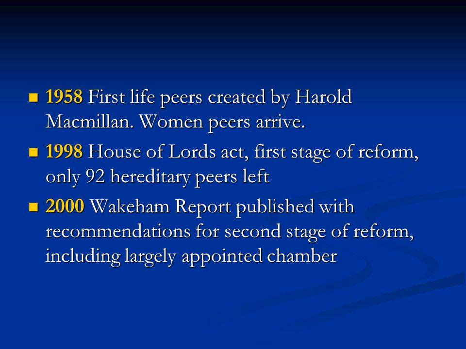1958 First life peers created by Harold Macmillan.
