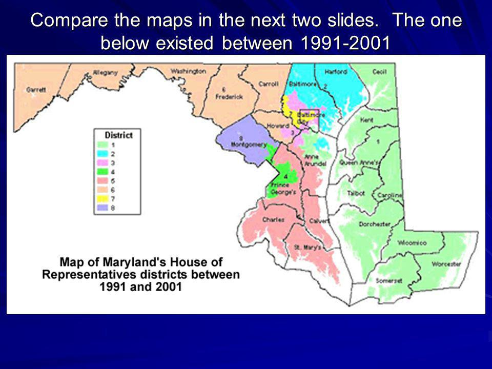 The legislative map below is the current map of district boundaries for members of the US House of Representatives in Maryland.