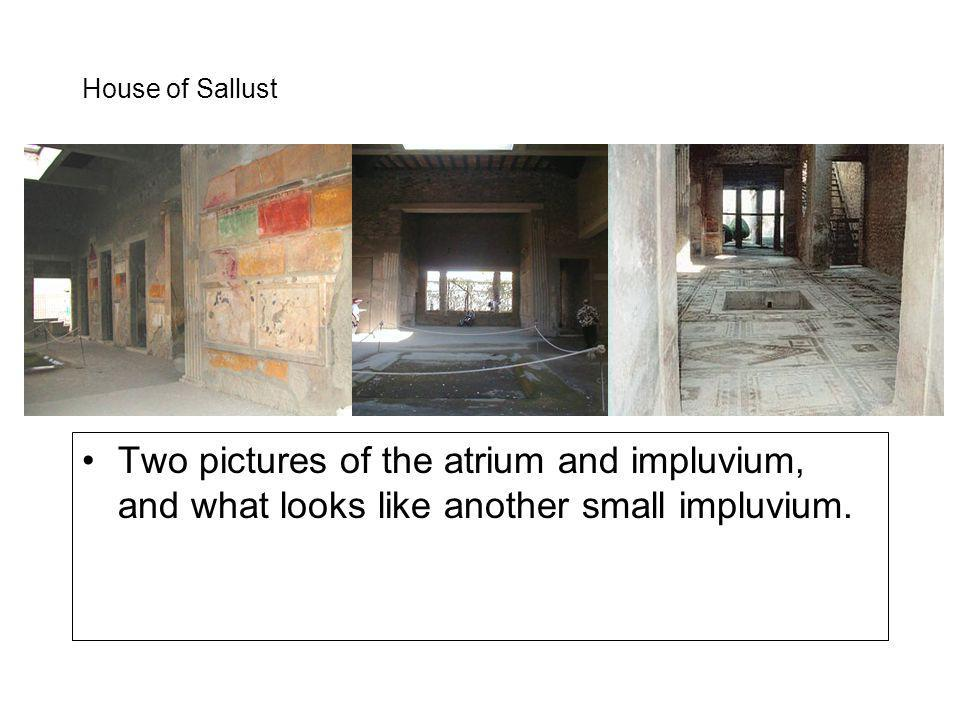 House of Sallust Two pictures of the atrium and impluvium, and what looks like another small impluvium.