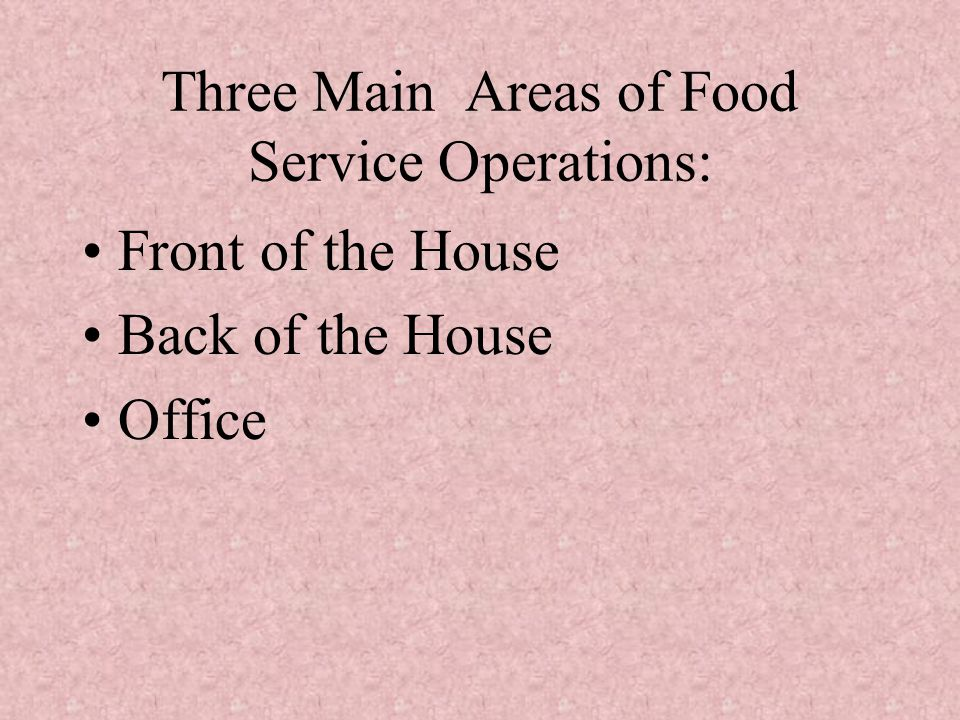 Three Main Areas of Food Service Operations: Front of the House Back of the House Office