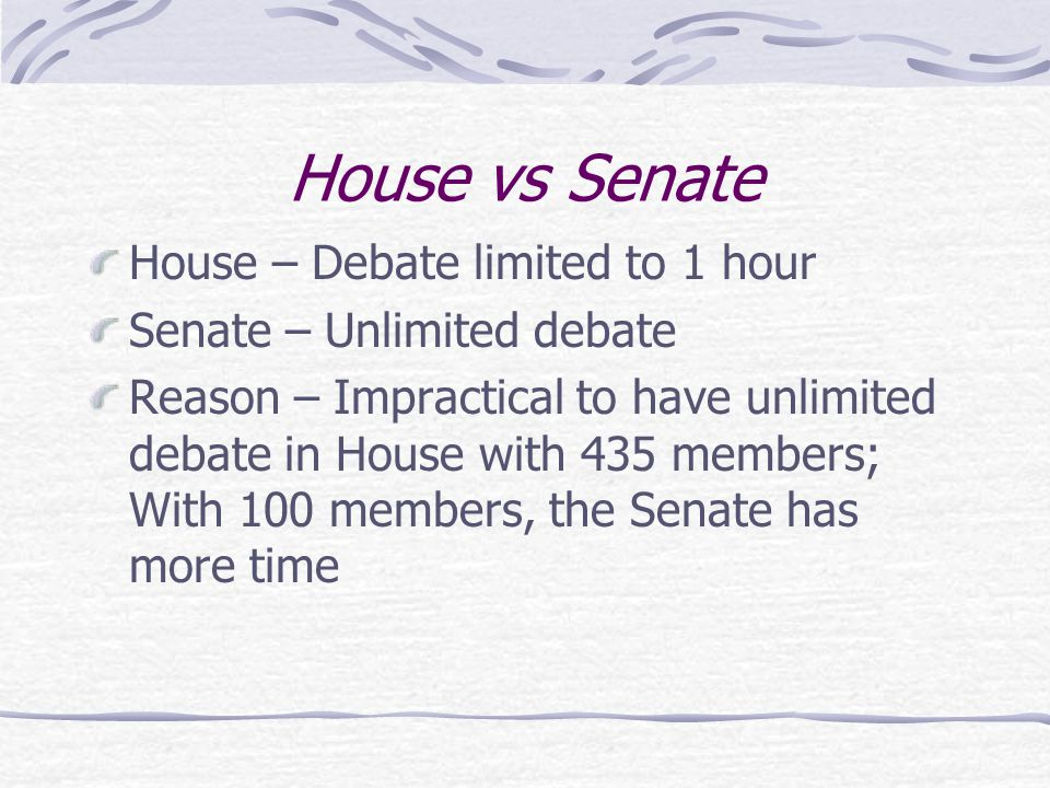 House vs Senate House – Debate limited to 1 hour Senate – Unlimited debate Reason – Impractical to have unlimited debate in House with 435 members; Wi