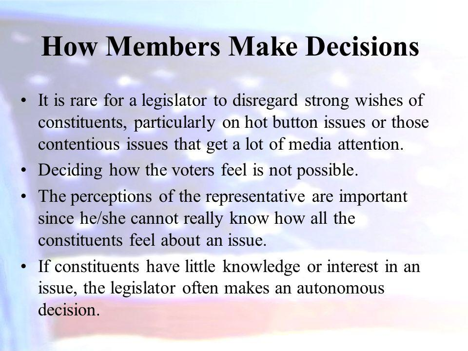 How Members Make Decisions It is rare for a legislator to disregard strong wishes of constituents, particularly on hot button issues or those contenti