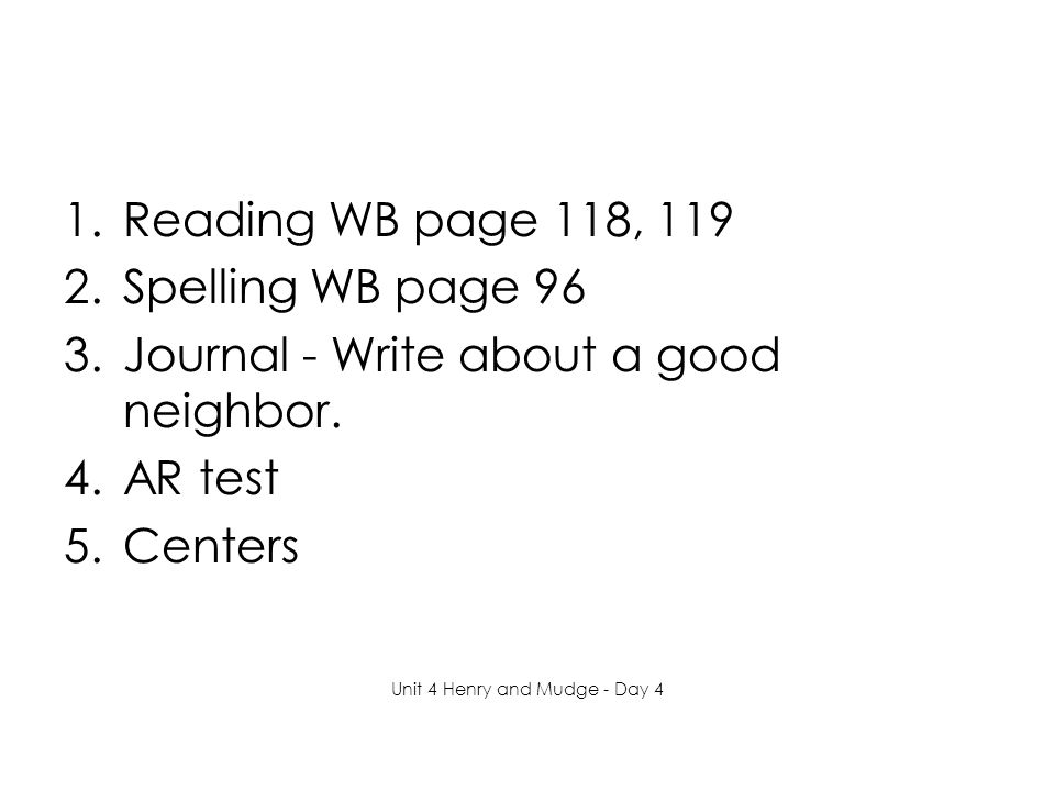 1.Reading WB page 118, 119 2.Spelling WB page 96 3.Journal - Write about a good neighbor.