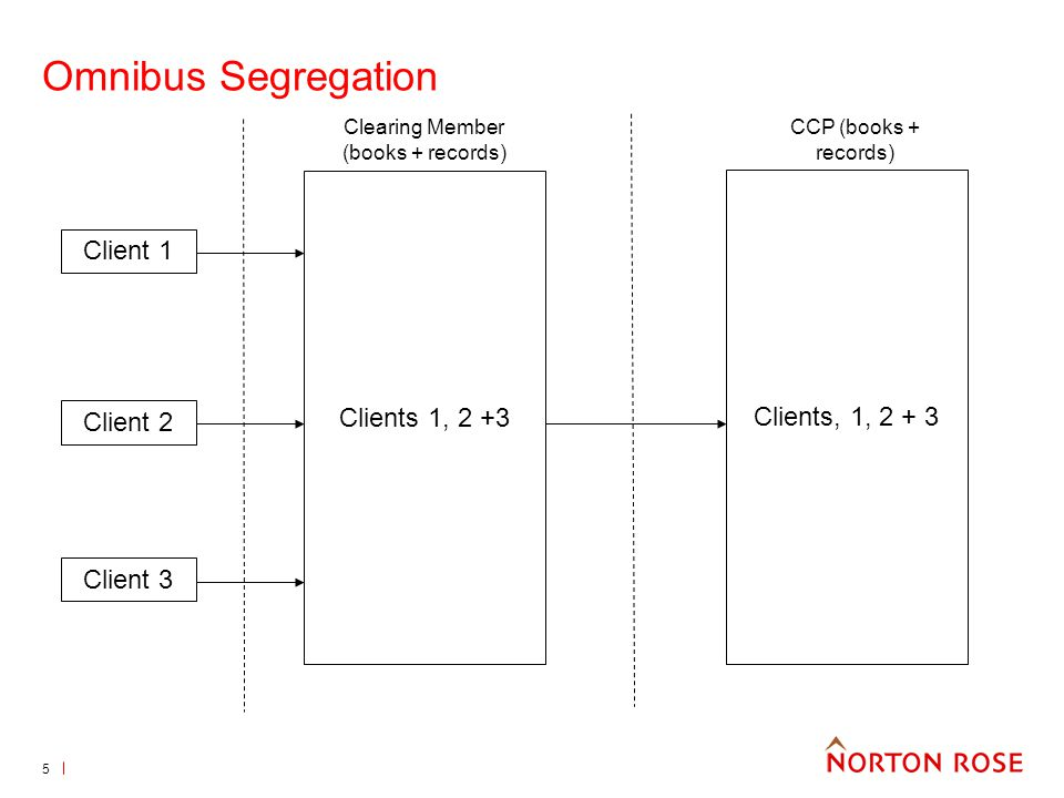 6 Omnibus segregation Records and accounts kept at CCP which distinguish the assets and positions of the clients within the omnibus account from assets and positions within either the clearing members house account or any other client account Positions can be netted within an omnibus account but not across accounts Assets covering positions in an omnibus account are not exposed to losses on positions recorded in any other account but within the account, one clients assets may be used to cover another clients positions – so fellow client risk will exist Excess collateral can be held at the clearing member level