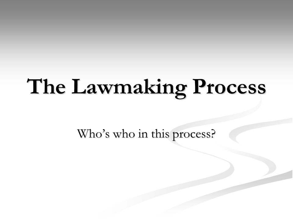 The Lawmaking Process Whos who in this process?