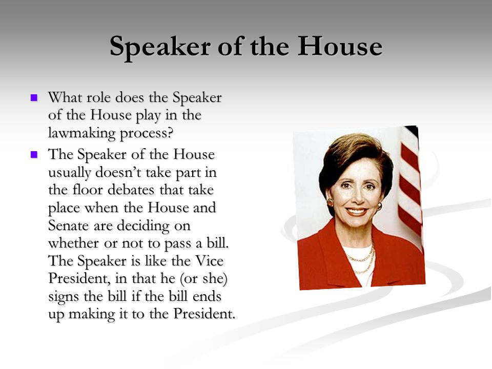 Speaker of the House What role does the Speaker of the House play in the lawmaking process.