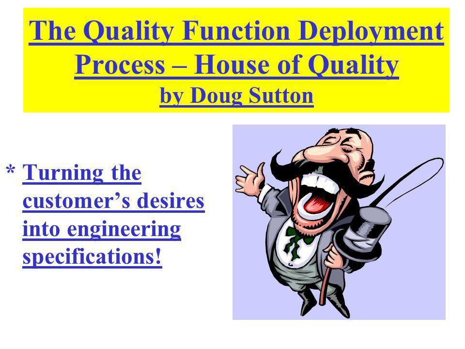 QFD?–Where Are We Headed.Turn Design Qualities into Design Specs.