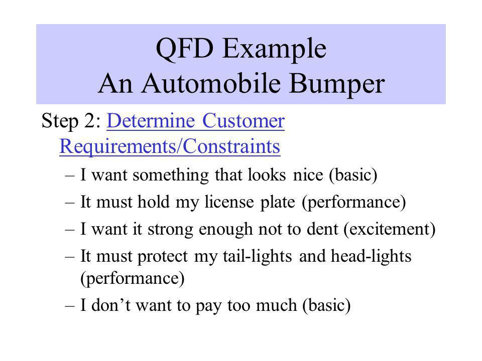 QFD Example An Automobile Bumper Step 3: Prioritize Customer Requirements