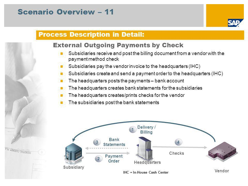 Process Description in Detail: External Outgoing Payments by Check Subsidiaries receive and post the billing document from a vendor with the payment method check Subsidiaries pay the vendor invoice to the headquarters (IHC) Subsidiaries create and send a payment order to the headquarters (IHC) The headquarters posts the payments – bank account The headquarters creates bank statements for the subsidiaries The headquarters creates/prints checks for the vendor The subsidiaries post the bank statements Scenario Overview – 11 IHC = In-House Cash Center Payment Order Bank Statements 1 3 2 Delivery / Billing Subsidiary Headquarters Checks Vendor 4