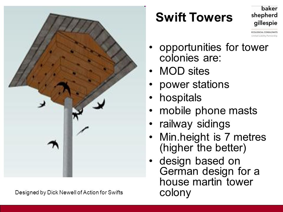 Swift towers opportunities for tower colonies are: MOD sites power stations hospitals mobile phone masts railway sidings Min.height is 7 metres (highe