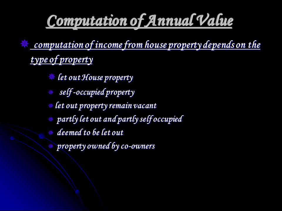 let out House property let out House property Annual Value XXX Annual Value XXX Less Muncipal Tax XXX Less Muncipal Tax XXX Adj.