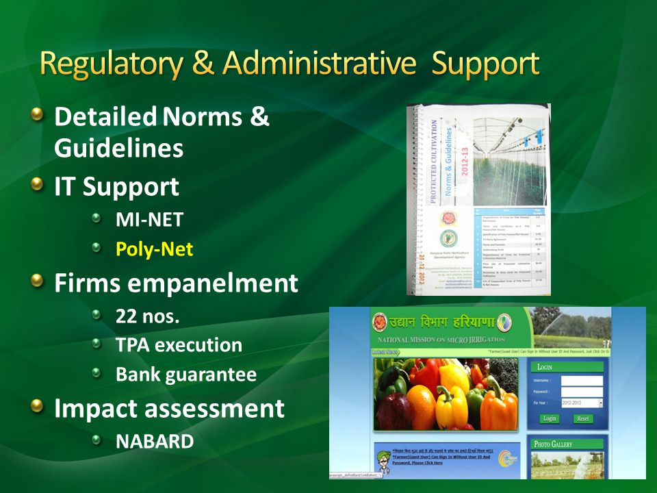 Detailed Norms & Guidelines IT Support MI-NET Poly-Net Firms empanelment 22 nos. TPA execution Bank guarantee Impact assessment NABARD
