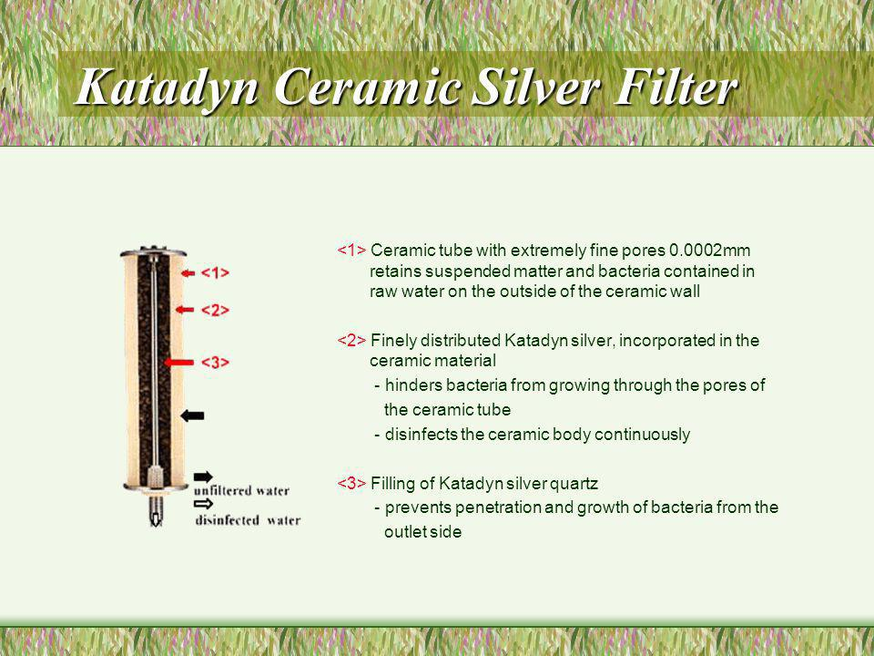 Katadyn Ceramic Silver Filter Ceramic tube with extremely fine pores 0.0002mm retains suspended matter and bacteria contained in raw water on the outs