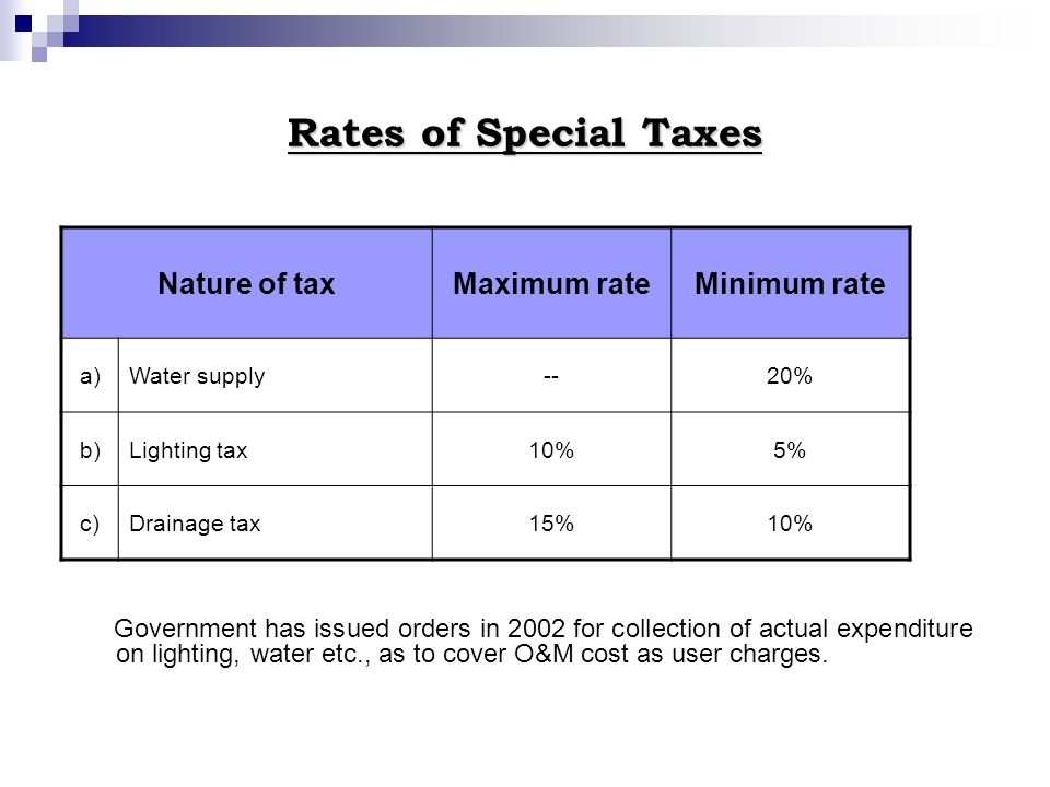Rates of Special Taxes Government has issued orders in 2002 for collection of actual expenditure on lighting, water etc., as to cover O&M cost as user
