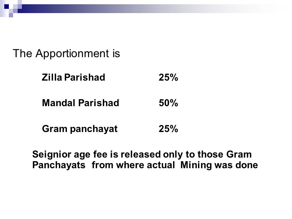 The Apportionment is Zilla Parishad25% Mandal Parishad50% Gram panchayat 25% Seignior age fee is released only to those Gram Panchayats from where actual Mining was done
