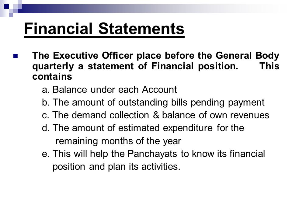 Financial Statements The Executive Officer place before the General Body quarterly a statement of Financial position. This contains a. Balance under e