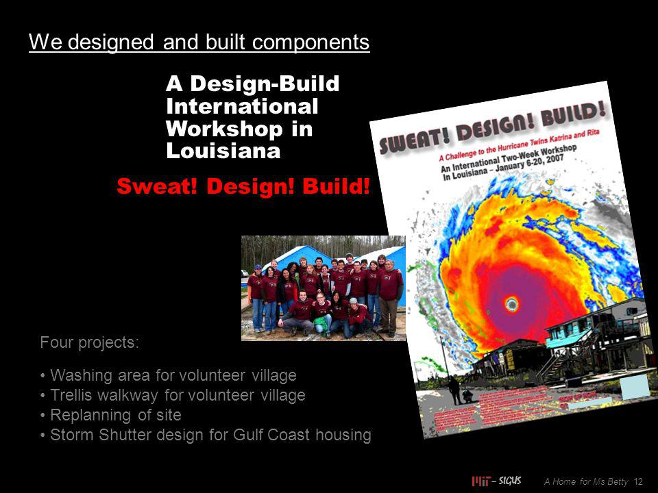 We designed and built components A Home for Ms Betty 12 A Design-Build International Workshop in Louisiana Sweat.