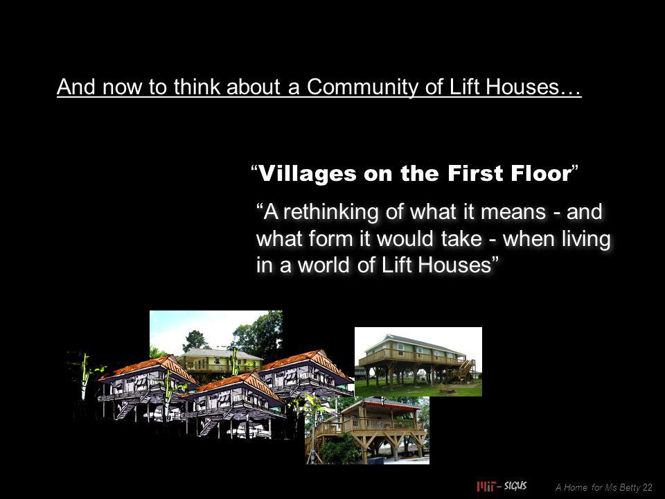 And now to think about a Community of Lift Houses… Villages on the First Floor A rethinking of what it means - and what form it would take - when livi