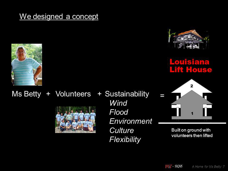 We designed a concept A Home for Ms Betty 7 Ms Betty+Volunteers+Sustainability Wind Flood Environment Culture Flexibility = Louisiana Lift House Built on ground with volunteers then lifted – SIGUS