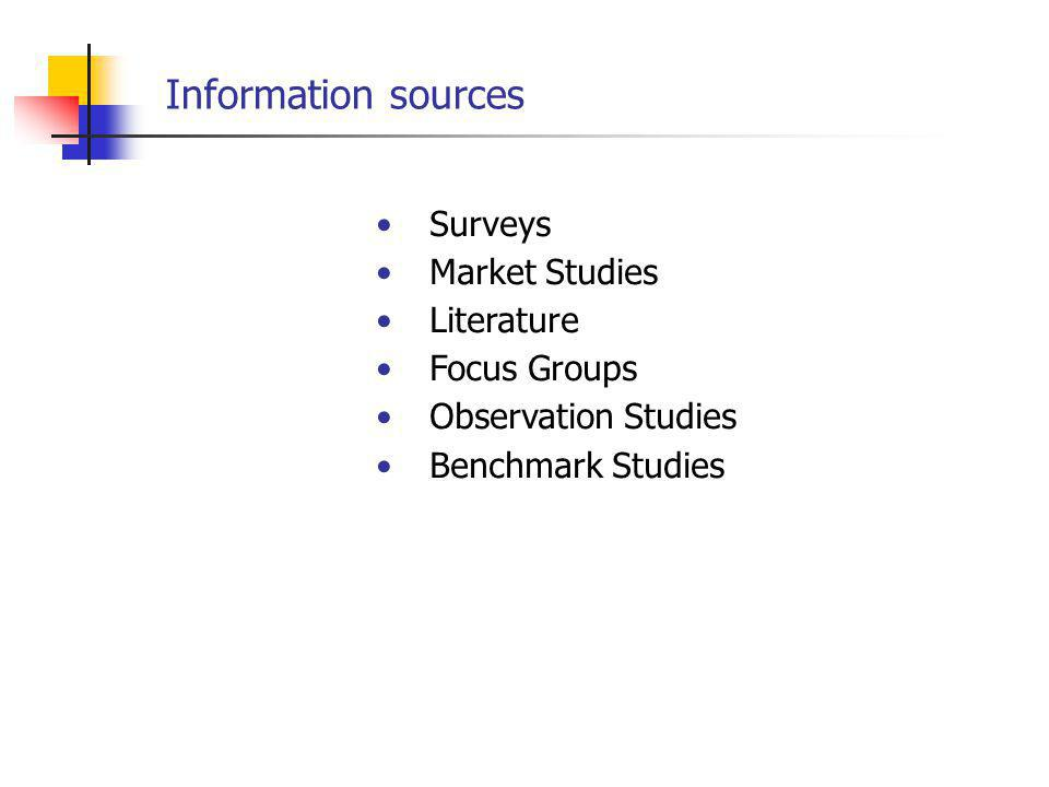 Surveys Market Studies Literature Focus Groups Observation Studies Benchmark Studies Information sources