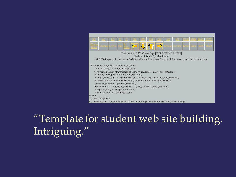 Template for student web site building. Intriguing.