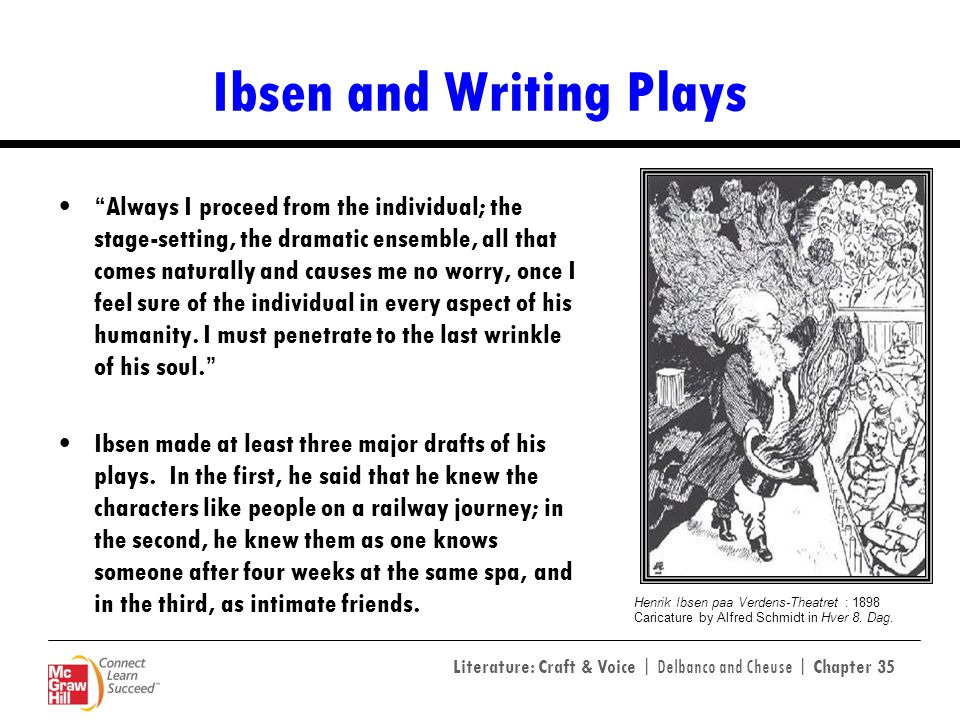 Literature: Craft & Voice | Delbanco and Cheuse | Chapter 35 Ibsen and Writing Plays Always I proceed from the individual; the stage-setting, the dram