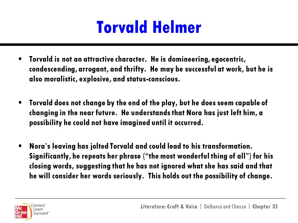Literature: Craft & Voice | Delbanco and Cheuse | Chapter 35 Torvald Helmer Torvald is not an attractive character. He is domineering, egocentric, con