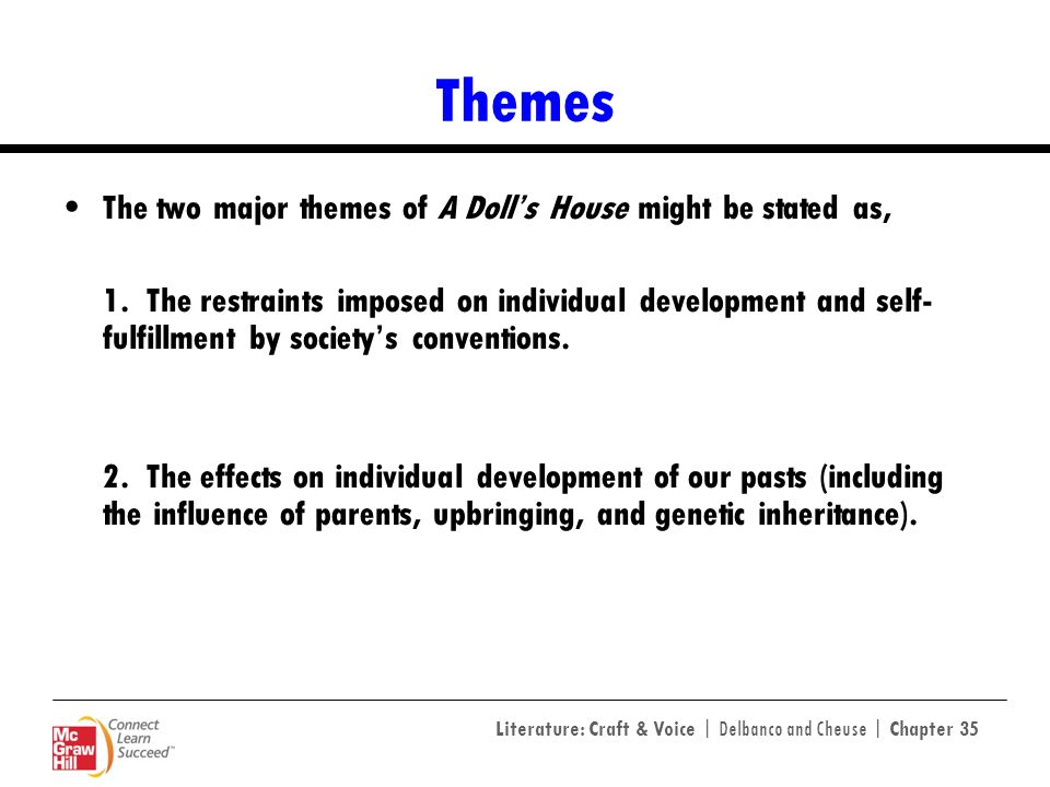 Literature: Craft & Voice | Delbanco and Cheuse | Chapter 35 Themes The two major themes of A Dolls House might be stated as, 1. The restraints impose